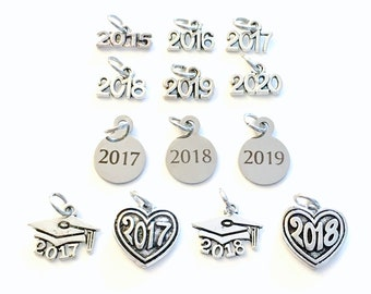 Add a Year charm, 2017 2018 2019 2020 Date pendant antique Silver for Keychain Necklace personalized customized class of add on a 2015 2016