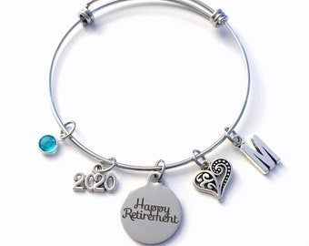 Retirement Gifts for Women Charm Bracelet, 2020 Happy Retirement Jewelry Silver Bangle, for Woman Mother Mom Aunt BFF  birthstone Present