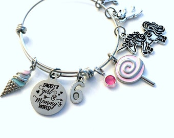 6th Birthday Gift for Girl Charm Bracelet 55mm / Turning 6 Present for Her / Daddy's Girl & Mommy's World / Silver Daughter Jewelry
