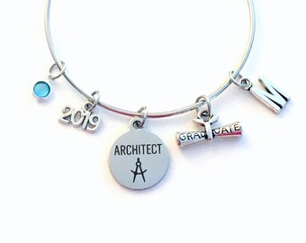 Graduation Gift for Architect, 2019 Architectural Technology Charm Bracelet Grad Silver Bangle Jewelry letter birthstone women her