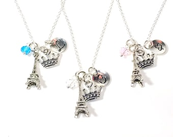 Eiffel Tower Stagette Necklaces, Set of 3 Best Friends Jewelry, Tiara Crown Bachelorette Party Gift