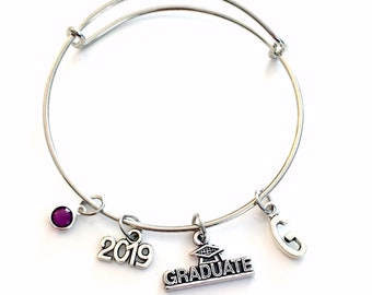 Class of 2019 Graduation Gift Charm Bracelet High School Student University Grad Silver Bangle Jewelry College for initial 2015 2016 or 2017