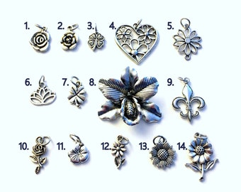 Flower Charm Add on purchase, Silver Rose, Lotus, Orchid, Sunflower, Four Leaf Clover, Daisy, Fleur De Lis, For Bangle, Necklace Jewelry