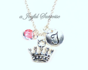 Personalized Tiara Necklace, Princess Crown Jewelry, Queen Royalty Reign Silver Charm Gift for Teenage Girl Teen daughter initial birthstone