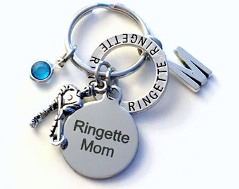 Ringette Mom Keychain, Gift for Mother's Day Key chain, Silver Keyring, Letter Birthstone Initial Custom Present Personalized Women Birthday