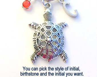 Turtle KeyChain Turtle Keyring Tortoise Key chain Animal Gift Personalized Initial Birthstone birthday present Christmas Gift Mascot Large