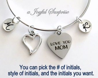 Mothers Day jewelry, Love you mom charm bracelet, silver Gift for mum Present Mommy from Children multiple initial letter Family kids her