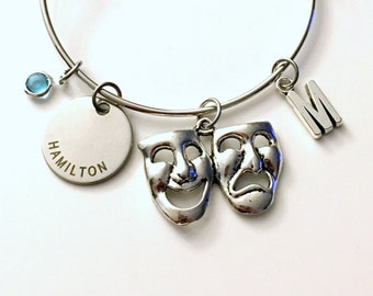 Hamilton Jewelry Charm Bracelet Bangle The Musical Theatre Theater Silver initial birthstone Drama Mask  Gift for Teenage Daughter Teen Girl
