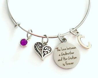 The love between a Godmother and her Godson is forever Jewelry, Gift for GodMom Charm Bracelet Silver Bangle birthstone initial Present