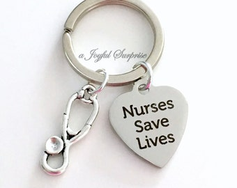 Nurse Keyring, Nursing Gift Nurse's KeyChain Nurses Save Lives stethoscope purse charm planner luggage tag MSN RN LPN Graduation Man Male