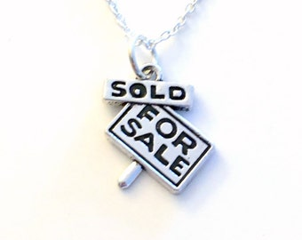 Realtor Necklace, Real Estate Agent Jewelry, Sold Sign Charm, For Sale Pendant present Gift for New First Home Keepsake Man Men Woman Women