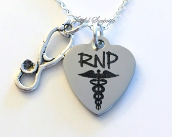RNP Jewelry, RNP Necklace, Registered Nurse Practitioner Gift Nursing Stethoscope Charm Male Man Men Woman Mom birthday Christmas present