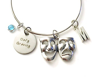 Defy Gravity Jewelry Charm Bracelet Bangle Wicked The Musical Theatre Theater Silver initial Drama Mask  Gift for Teenage Daughter Teen Girl