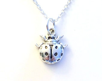 Lady Bug Jewelry, Ladybug Necklace Gift for Little Girl Boy Son Grandson Nephew Insect Animal Silver charm present Short Long Chain Sterling