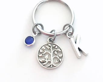 Tree of Life Keychain, Gift for Mom Key Chain, Mother's Day Present, Leaves in Circle Initial Birthstone women her Best Selling Item Etsy