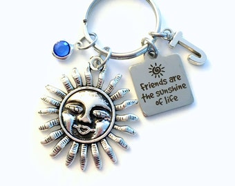 Friends are the sunshine of life Keychain, Best Friend Key Chain Birthstone Initial Present Jewelry Women BFF Quote Keyring Silver Sun Charm