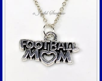 Football Mom Charm Necklace, Silver Personalized Foot ball Mother Jewelry, Gift for Player Pendant, Her Women parent Cheer team Mothers day