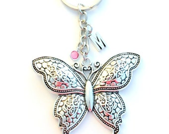 Large Butterfly Key Chain, Butterflies Keychain, Detailed Wing Flying Animal Key Ring, Silver Jewelry birthstone initial gift for girlfriend