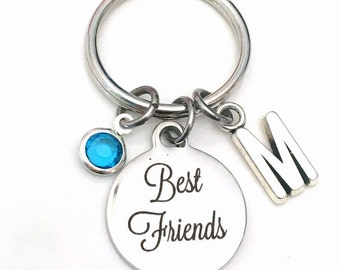 Gift for Best Friends Keychain, BFF Key Chain Her Him, Girlfriend Keyring, Birthday Present Initial engraved Stainless Cursive Font Script