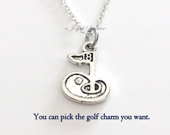 Silver Golf Necklace, Golf Gift for Husband Golfers Present Man Women, 18th Hole Charm Teenage Boy Teenager Teen Club Fore pro thank you 100