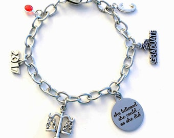 Law Secretary Graduation Gift, 2017 2018 She believed she could so she did bracelet Jewelry Charm Chain Link initial Legal Assistant lobster