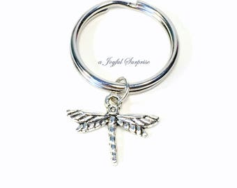 Dragonfly Keychain, Dragon fly Key chain, Silver Dragonfly Keyring, Summertime, Flying Insect Gift Jewelry Gardeners Gift Purse charm women