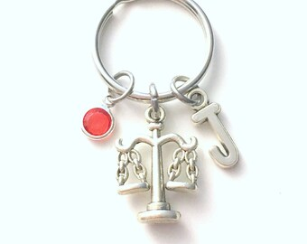 Law Scale Keychain, Libra Key Chain, Gift for Law Assistant Associate Judge Legal Keyring Lawyer Present Birthstone Initial Personalized her