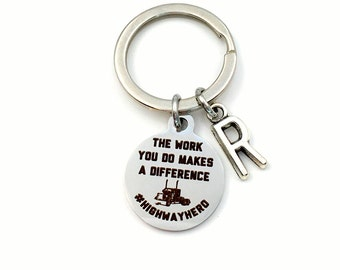 Long Haul Trucker Keychain, The work you do makes a difference Keyring, Highway hero's Present, Thank you Gift For Semi Vehicle Driver Dad