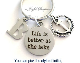 Fisherman's Key Chain, Life is better at the Lake KeyChain, Cottage Keyring, Retirement Keychain, Custom with Initial Personalized Monogram