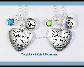 Personalized Mother Daughter Necklaces Set of 2, Always Heart Jewelry Gifts for Mothers Day Gift for Girlfriend Cousin Sister, Matching her