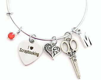 Scrapbook Jewelry, I love Scrapbooking Charm Bracelet, Gift for Mom Bangle initial Birthstone Present Women Woman Heart Craft Scrap Book