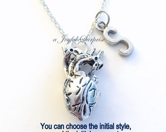 Human Heart Necklace Anatomical Jewelry Gift for Cardiac Nurse Surgeon Man Woman Anatomy Real Initial letter present Sterling Silver Chain