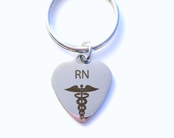 Gift for Registered Nurse, RN Keyring RN Keychain  Key Chain Man Men Male Plain Simple Stainless Steel Laser Engraved Iron Steel Key ring