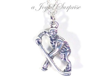 Gift for Boyfriend, Husband Him Dad, Hockey Necklace, Team Teammate Player Present Silver jewelry Long short Chain Man men boy girl her