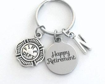 Retirement Gift for Firefighter Keychain 2020 Fireman Key chain Keyring Retire Coworker Initial letter men man Firemen Fire Him Her Dad 2021