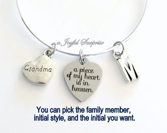 Memorial Bracelet, A Piece of my heart is in Heaven Gift for Sympathy Present, Silver Bangle Aunt Sister Grandma Jewelry Mom Daughter Son