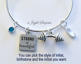 Strong is Beautiful Bracelet, Strong Gift, Fitness Jewelry, Silver Dumbbell Charm Bangle Pendant Barbell Birthstone initial letter custom