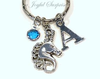 Unicorn Keychain, Fairy Tale Keyring, Fairytale Key chain Horse Gift for Magical Jewelry, Animal tag Initial Birthstone Purse charm Planner
