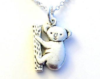 Koala Necklace, Gift for Little Girl Boy Bear Jewelry Climbing Zoo Animal Silver charm Kuala present Short Long Chain Sterling Son Grandson