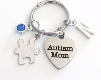 Autism Mom KeyChain Gift for Awareness Keyring Autistic Mother Key chain Pendant Jewelry charm Silver Initial Birthstone birthday present