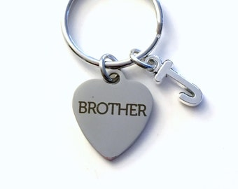 Brother Gift, Brother KeyChain Birthday Present for Bro Key Chain Best Man Keyring Initial Step for In Law Laser Engraved Stainless Steel