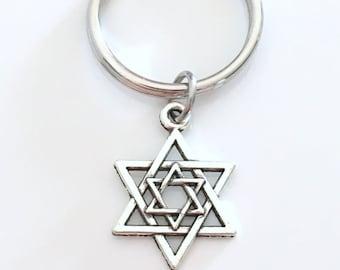 Star of David Key Chain, Jewish Shield Magen David Keychain, Religious Judaism Keyring Jewelry charm birthday present Hanukkah Gift under 10