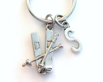 Ski Keychain, Skiing Key Chain, Gift for Skiier Teenager Teenage Teen Boy Girl Downhill Cross Country Birthday Present Sport Athlete Initial