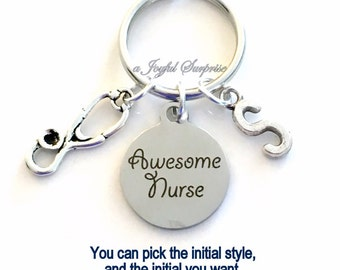 Gift for Nurse Awesome Nurse KeyChain Man Key Chain Nursing Keyring Customized Initial Letter Birthday Christmas present purse charm planner