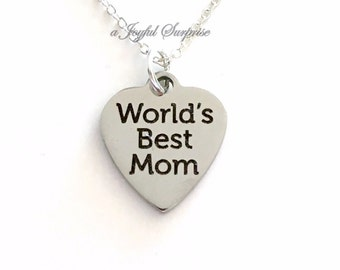 World's Best Mom Necklace, Mother Jewelry, Gift for Mom Simple Silver Mother's Day Birthday present Charm Pendant Stainless Steel Long Short