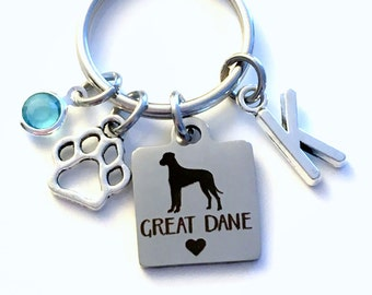 Great Dane KeyChain Breeder Key Chain Gift for Dog Mom Keyring Doggie Puppy Jewelry charm Silver Initial Birthstone present Men women Paw