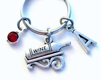 Wine Keychain, Wine Bottle Key Chain, Stagette Keyring Present Gift for Party Girl 21st Birthday Initial Birthstone birthday Best Friend