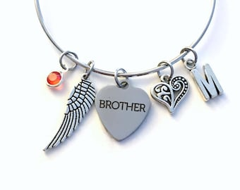 Guardian Angel Brother Charm Bracelet, Memorial Loss of Dad Son Jewelry bangle Silver Angel Wing letter Bro, Heart Father Sister Uncle Mom