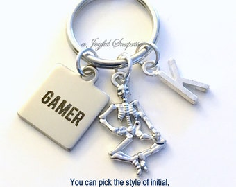 Gamer Key Chain, Video Game KeyChain, Skeleton Keyring Gift For Streamers Gifts Birthday Present Christmas Gaming Geek player initial