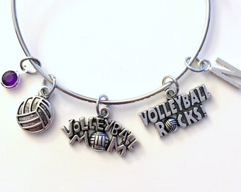 Volleyball Mom Jewelry Charm Bracelet Bangle Silver Player Team initial Birthstone Birthday Gift Christmas Present Custom Volley Ball Rocks